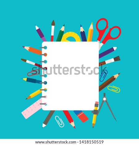 School notebooks and school stationery such as pens, pencils, scissors, compasses, shrubs. Back to school concept. flat illustration vector #1418150519