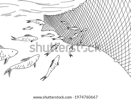 School of fish moving into the fishing net graphic sea black white sketch illustration vector Stock fotó ©