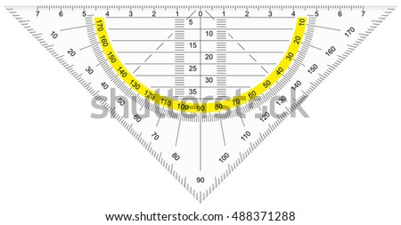 school or architecture equipment protractor isolated on white background