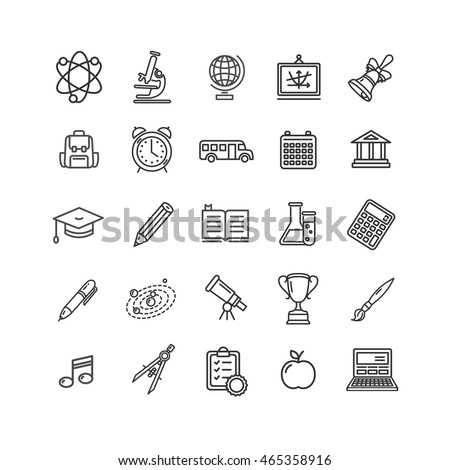 School Outline Icon Set Isolated on White Background. Vector illustration