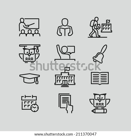 School outline icons