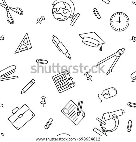 School pattern: thin monochrome school pattern, black and white