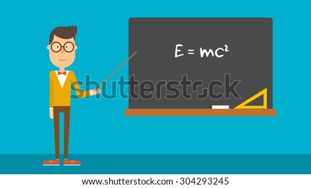 School physics teacher shows of formula on blackboard. Flat design. Vector illustration.