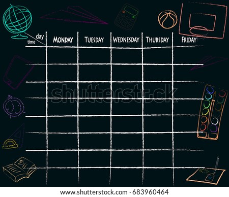 School plan schedule template memos set for children. Timetable background. Vector application.