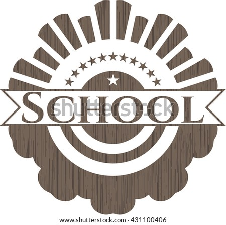 School retro style wooden emblem
