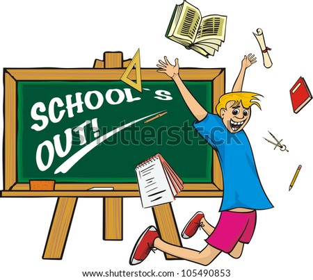 school`s out - stock vector