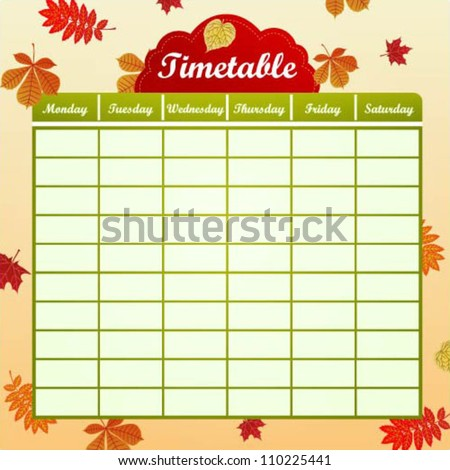 School schedule with autumn leaves