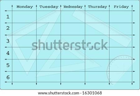 school scheduler with mathematical equipments