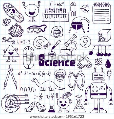 school science doodle set 1