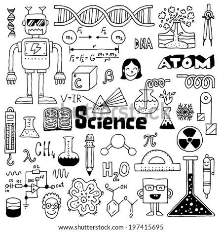 school science doodles 2 hand