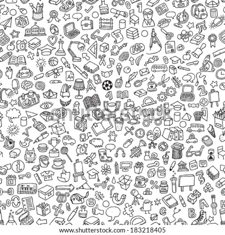 School seamless pattern in black and white (repeated) with mini doodle drawings (icons). Illustration is in eps8 vector mode.