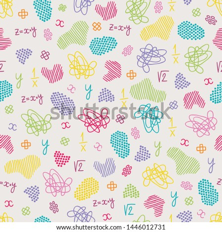 School seamless pattern with mathematic equation, colorful scribbles and spots. Perfect for wallpaper, wrapping paper, fabric, educational materials
