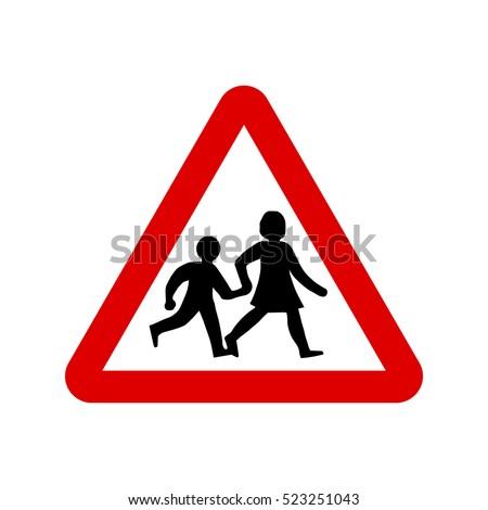 School Sign, UK children sign. School crossing