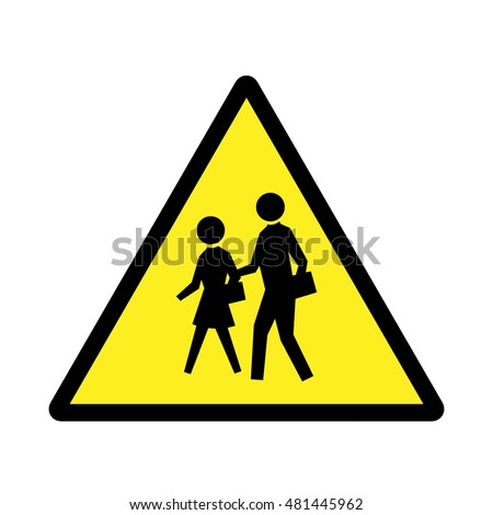 School sign. Yellow and black sign.
