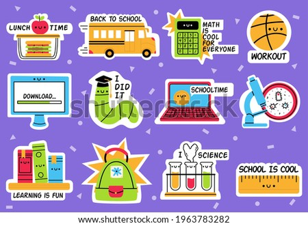School stickers. Back to school, education badges, supplies hand drawn sticker isolated vector illustration set. Education back to school icons. Lunch time and education, workout