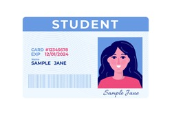 School student id card with photo. Vector illustration.