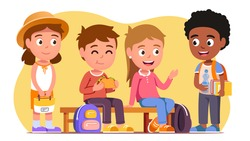 School students kids boys & girls sitting on bench, eating, chatting. Smiling schoolboys and schoolgirls children cartoon characters having break. Education and friendship. Flat vector illustration