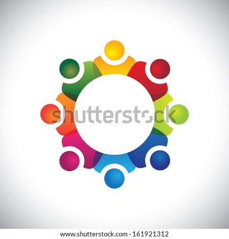 school students showing companionship and friendship vector. The graphic can also represent employees unity, workers union, executives meeting, friendship, team work & team spirit