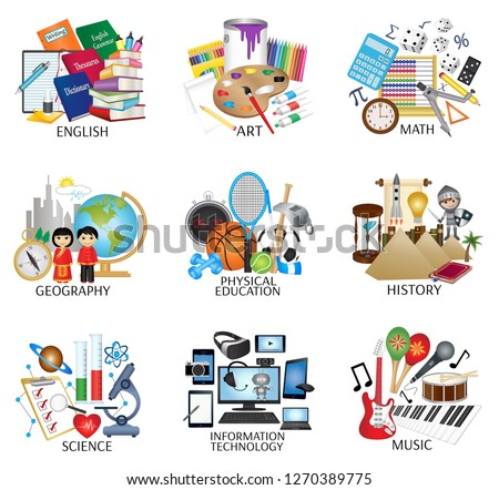 School subject icons - English, Art, Math, Geography, Physical Education, History, Science, Information Technology and Music