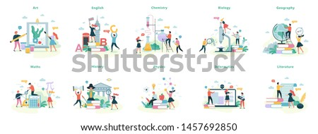 School subject set. Idea of education and science. Biology, chemistry and maths. Isolated vector illustration in cartoon style Foto stock ©