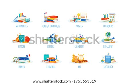 School subjects flat concept vector illustrations set. Natural and formal science metaphors. Foreign language, physics, economics lessons. Students textbooks and supplies items 2D cartoon objects Foto stock ©