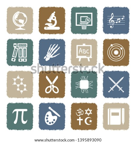School Subjects Icons. Set 2. Grunge Color Flat Design. Vector Illustration.