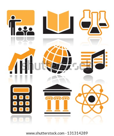 School subjects icons set over white background