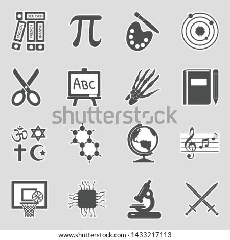 School Subjects Icons.  Sticker Design. Vector Illustration.