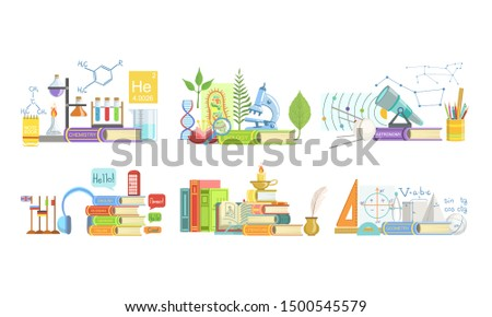 School Subjects Set, Chemistry, Biology, Astronomy, Foreign Language, Literature, Geometry Vector Illustration
