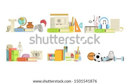 School Subjects Set. History, Drafting, Music, Anatomy, Drawing, Sport Vector Illustration.