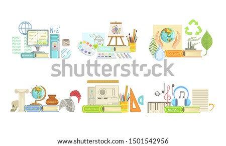 School Subjects Set, Informatics, Ecology, Drafting, Painting, Geography, History, Music. Vector Illustration.