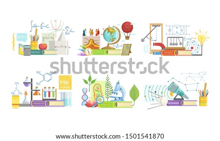 School Subjects Set, Math, Geography, Physics, Chemistry, Biology, Astronomy. Vector Illustration.