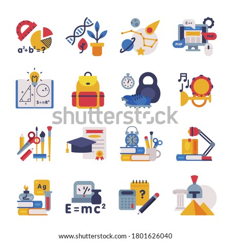 School Subjects Supplies Set, Education Symbols, Schooling and Learning Elements, Back to School Concept Flat Style Vector Illustration Foto stock ©