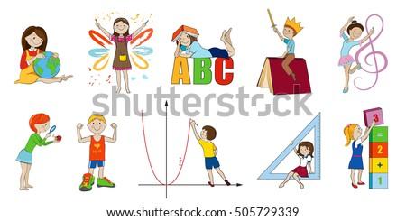 school subjects vector cartoon