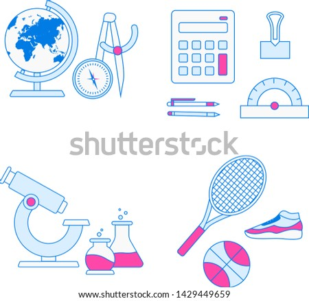 School subjects vector collection. Education objects set.