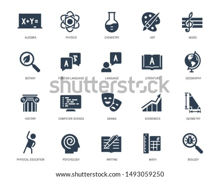 School Subjects Vector Icon Set in Glyph Style