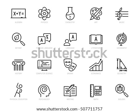 school subjects vector icon set ...