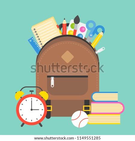 school supplies and school bag , back to school theme