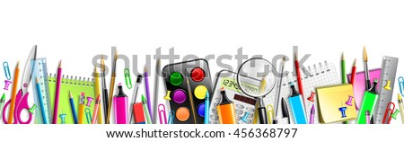 School Supplies Banner Isolated On White