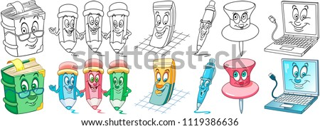School supplies. Cartoon Office Stationery Collection. Coloring pages and colorful designs for coloring book, t-shirt print, icon, logo, label, patch, sticker. Vector illustrations.