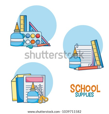 School supplies cartoons