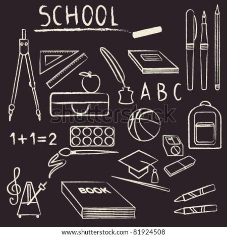 School supplies design element set Hand drawn school supplies design element set on chalkboard.