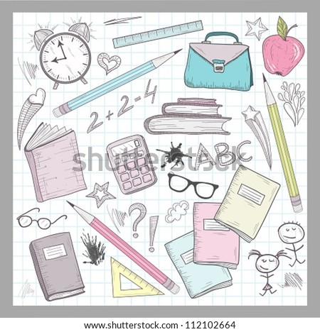 School supplies elements on lined sketchbook paper background