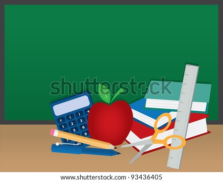 School supplies in front of a blank chalkboard