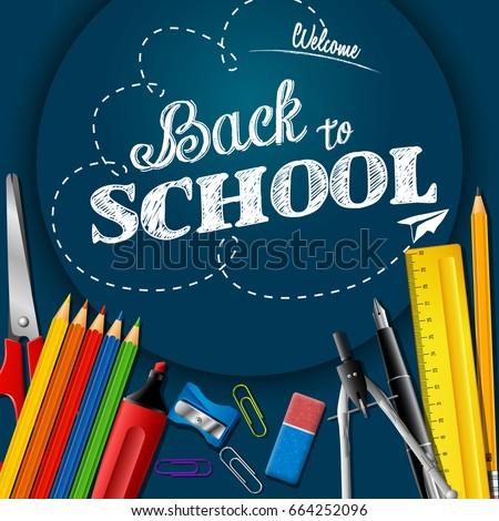 School supplies on chalkboard background
