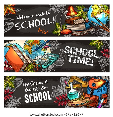 School supplies on chalkboard banner set for education template. Pencil, ruler, book, calculator, school bag, scissors, blackboard, paint, brush, globe and flask chalk sketch for back to school design