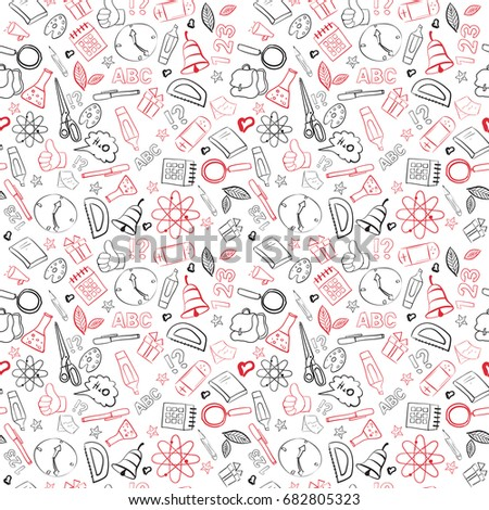 School Supplies Seamless Pattern Doodle Hand Drawn Background Vector Illustration