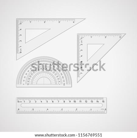 School supplies. Set of measuring tool: ruler, triangular ruler, equilateral triangle ruler, set square triangular plates for drawing lines, especially at 90, 45, 60, or 30 degrees, protractor