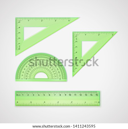 School supplies. Set of realistic green plastic transparent measuring tool: triangular ruler, equilateral triangle ruler - for drawing lines, especially at 90, 45, 60, or 30 degrees, ruler, protractor