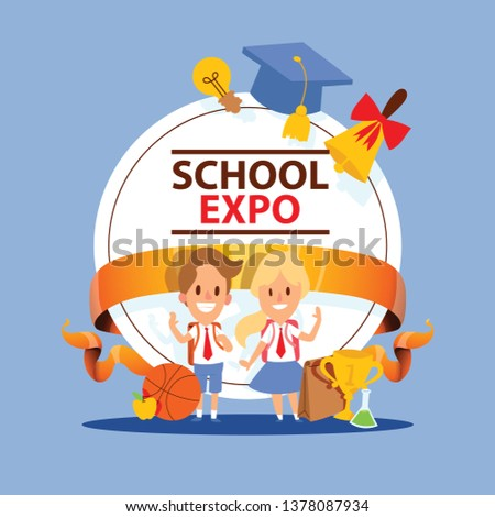 School supplies vector boy girl character kids education schooling accessory for schoolchilds backdrop children studying in classroom illustration of educational stationery background banner.